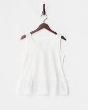 シロ●ホワイト 裾フレア<br />ノースリーブカットソー○380731024