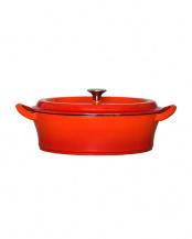 オレンジ●キャストポット(鉄鋳物ホーロー鍋) オーバル26cm浅型○CP-O26OR