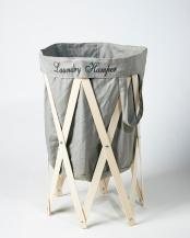 グレー×ナチュラル●ナチュラルな洗濯かご Laundry Hamper(ランドリーハンパー)○EF-LH01
