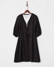 ブラック●ロングカーディガン+刺繍Tシャツセット○K2CIA03049