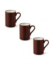 ホワイト/ブラウン●ロングマグカップ ホワイト&ブラウン 3Pセット○T-760888