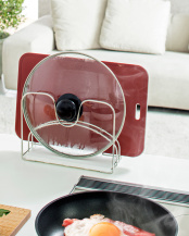 珪藻土+wire 鍋ふた・まな板スタンド○43-HO1870