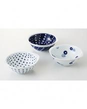 藍丸紋 手付軽量鉢トリオ○4965451141381
