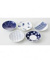 藍丸紋 軽量小皿揃○4965451140506