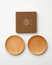 ナチュラル●山桜ノ木皿2枚セット 中皿○WDH-0057