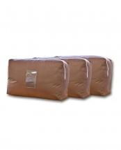 ブラウン●羽毛布団収納袋2~3枚入れ用 3枚組○899665BO