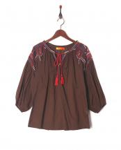 ブラウン●刺繍ブラウス○W07-9700