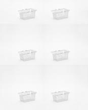 ホワイト●ワイヤーバスケット S 6pcs SET○220147×6
