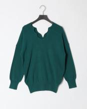 53/緑系F●スカラップ衿バックシャンニットプルオーバー○15189121