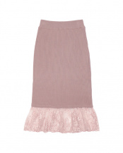 ピンク●レースヘムニットスカート○CUVA0243