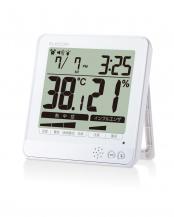 ホワイト●「温湿度計」 インフルエンザ・熱中症の危険察知機能/2way○OND-04WH