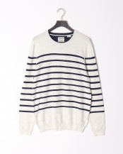 LIGHT ECRU HEATHER●AF LS Cot Lin Stp Crew Light E○TB0A1M2RC851