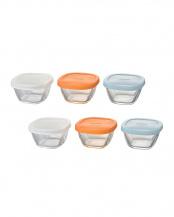 耐熱ミニ角小鉢シリコーンフタ付き 6個セット○MKK-SI-2024/MKK-SI-2024