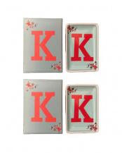 K ●アルファベットステュディオ イニシャルインテリアトレー2個セット○86312-K