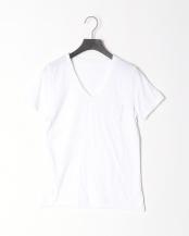 WHITE/WHITE●フロントポケット VネックTee○AR-005