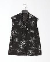 ブラック●ヴィンテージ線花柄プリントブラウス○02-1667