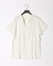 白系柄物●麻混スキッパーシャツ○0-0821-2-21-022