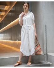 オフホワイト●シェルボタンシャツドレス○EM201150017