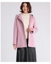 ピンク1●フーデットウールコート CLEAR IMPRESSION○6594111004