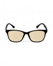 ブラック●「ブルーライトカット眼鏡」 ブラウンレンズ/ウェリントンフレーム/超軽量○G-BUB-W02BK