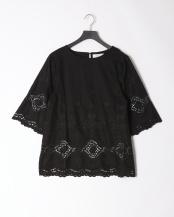 98/無彩色I(ブラック)●コットンリネン 刺しゅうレース チュニックブラウス○80190208