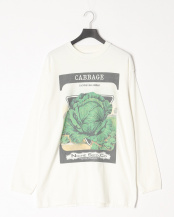 WHITE●re.mate×niche vg long-sleeve t-shirts(CABBAGE)○MT1-CUT-03-CABBAGE