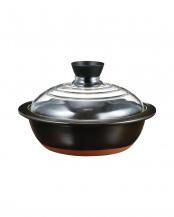 ブラック●フタがガラスの土鍋 8号○GDN-225-B