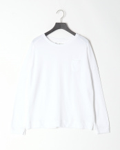 WHITE●フロントポケット ロングスリーブ CREWネック○BMS-3010