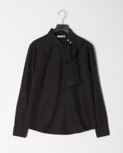 黒●アシンメトリ―ラッフル襟とろみプルオーバーブラウス○109201232