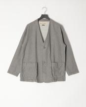 ライトグレー●ノーカラージャケット/コットン100%/Made in Japan○M0493FJ 01