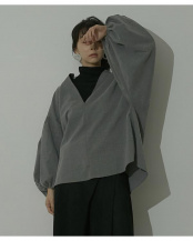 グレー●ボリュームスリーブスキッパーチェックシャツ○RWXN0659