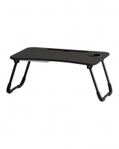 ブラック●スマホ・タブレット用折りたたみテーブル(収納付き)○T-3411