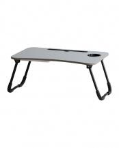 グレー●スマホ・タブレット用折りたたみテーブル(収納付き)○T-3411