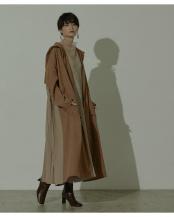 ブラウン●バックプリーツワイドフーディーコート○RWXN0565