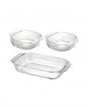 耐熱ガラス製トースター皿3個セット○HTZ-2808