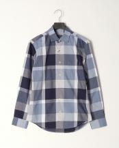 ブルー●コットンリネンカルゼ トーナルクレストブリッジチェックシャツ○51M08308