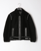 ブラック●メンズラムファージャケット○MEK-1975
