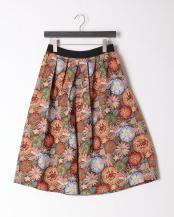 キャメル●ゴブラン織り花柄スカート○239-29867