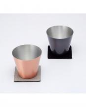 マット+ブラウン●純銅製カップ2個セット○WDH-0026