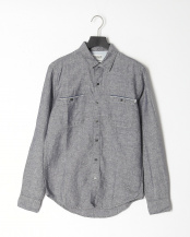Dark Sapphire YD●AF LS Mill River Cotton Linen Chambray Solid Shirt Slim○TB0A1WRCB681