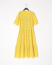 yellow●リーフ刺繍ワンピース○MA201FA004