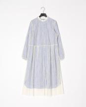 blue stripe●別注すずらん刺繍レースコンビワンピース○MA201FA706
