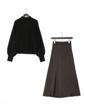 ブラック●サテンスカートニットセット○927903