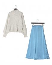 ブルー×グレー●サテンスカートニットセット○927903