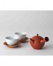 朱●急須、湯呑み2個セット 丸形○WDH-0089