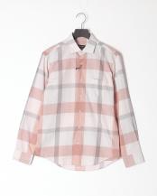 ピンク●コットンリネンカルゼ トーナルクレストブリッジチェックシャツ○51M08308