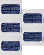 藍染駒筋 長角皿 5個セット○32570