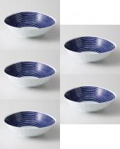 藍染駒筋 変形多用鉢 5個セット○32561