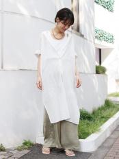 オフホワイト●サイドスリットロングシャツ Ungrid○112040423701