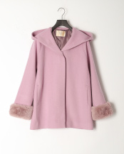 ピンク●《Maglie par ef-de》フーデットハーフコート《Super110's Wool》○5104111001